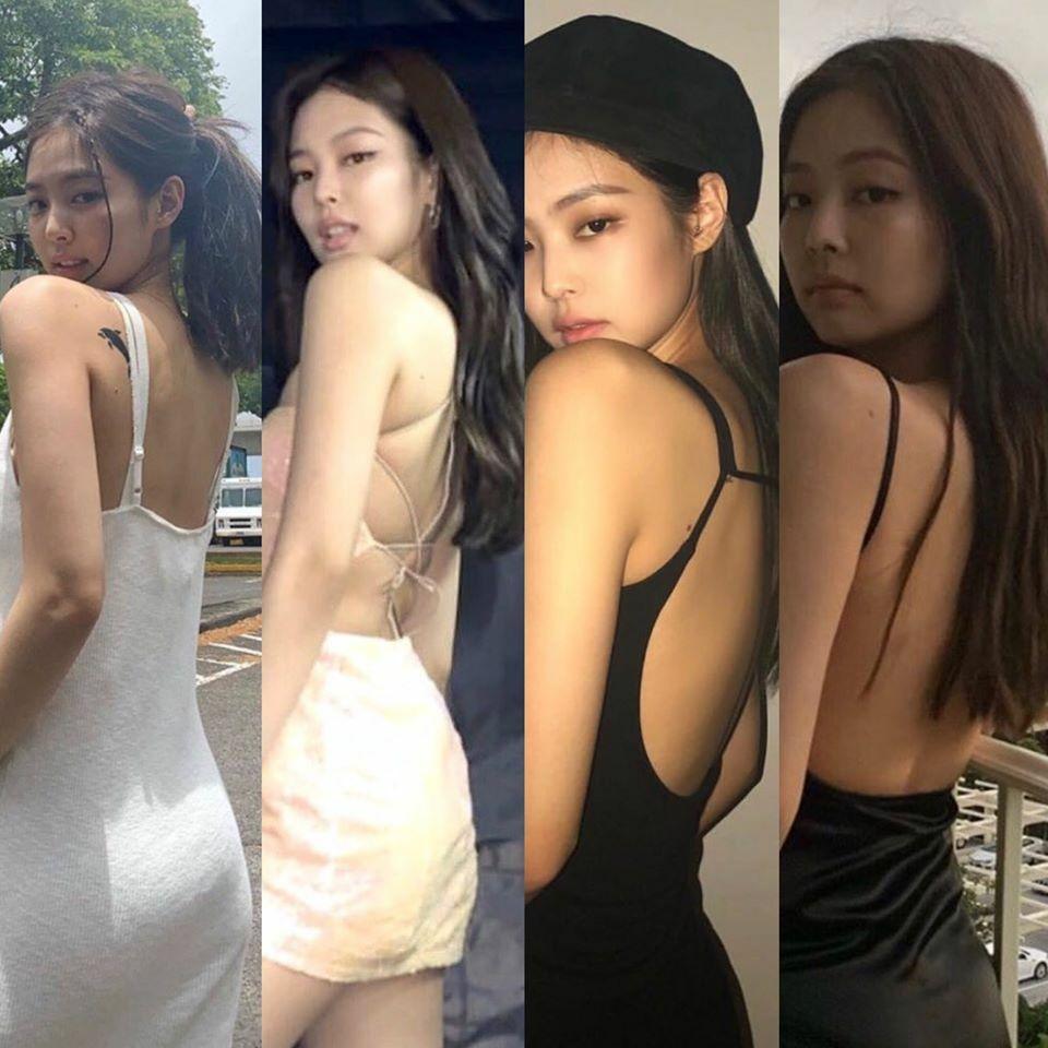 Chuộng phong cách gợi cảm, Jennie thường diện những chiếc váy với khoảng hở táo bạo ở lưng. Để khoe vóc dáng, nữ idol yêu thích cách pose xoay lưng về phía ống kính, mặt nghiêng góc 3/4. Đây là tư thế tạo dáng đỉnh nhất giúp khoe lưng ong, đường cong ở vòng ba và cả góc mặt thon gọn.