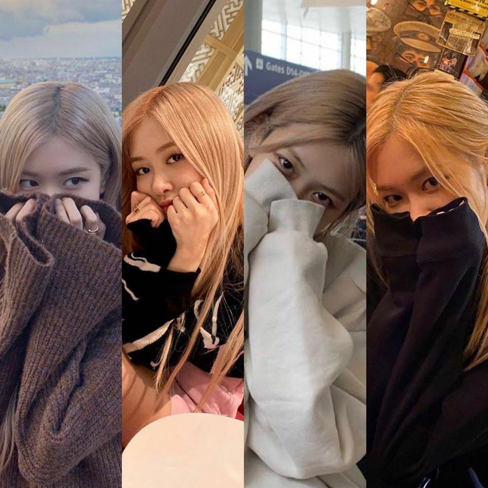 Khác với phong cách táo bạo của Jennie, Rosé lại thích cách pose thể hiện vẻ e ấp, ngọt ngào. Nữ idol luôn đưa hai tay lên che nửa mặt, chỉ để lộ đôi mắt.