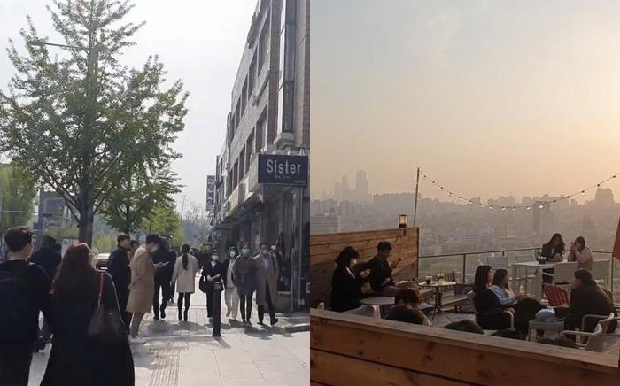 Từ giữa tháng 4, nhịp sống đã trở lại gần như bình thường ở Hàn Quốc. Ảnh chụp quán cà phê, phố xá ở Itaewon vào tháng 4.