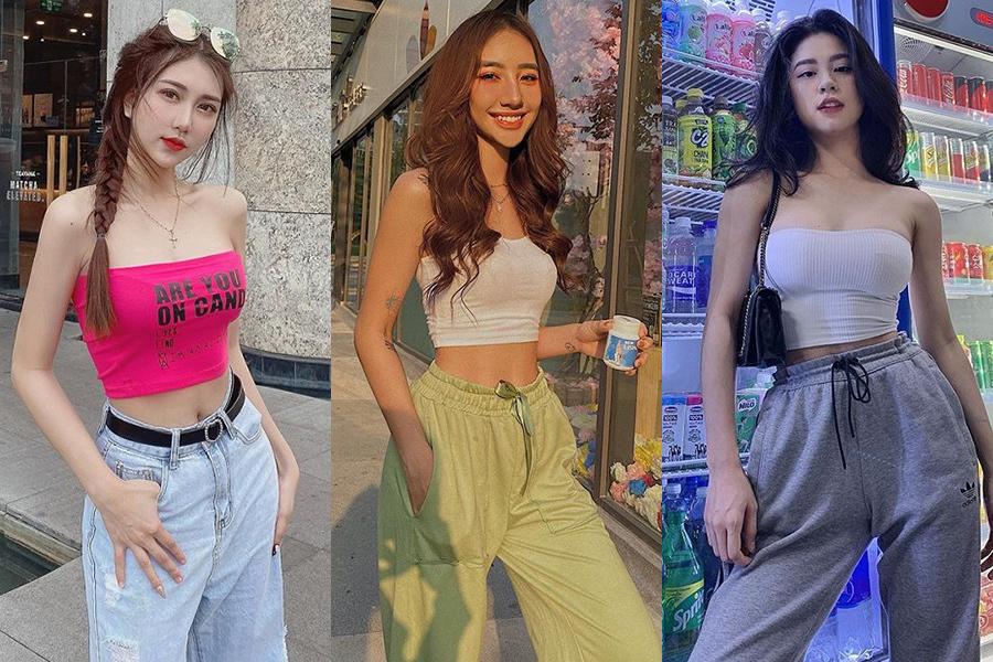 Diện áo quây croptop và quần thụng như Ngọc Trinh cũng là công thức đang được các hot girl Việt yêu thích. Lối mix đồ này chẳng cầu kỳ nhưng rất hiệu quả trong việc giải nhiệt và khoe dáng, thoải mái hoạt động dù đi đâu.