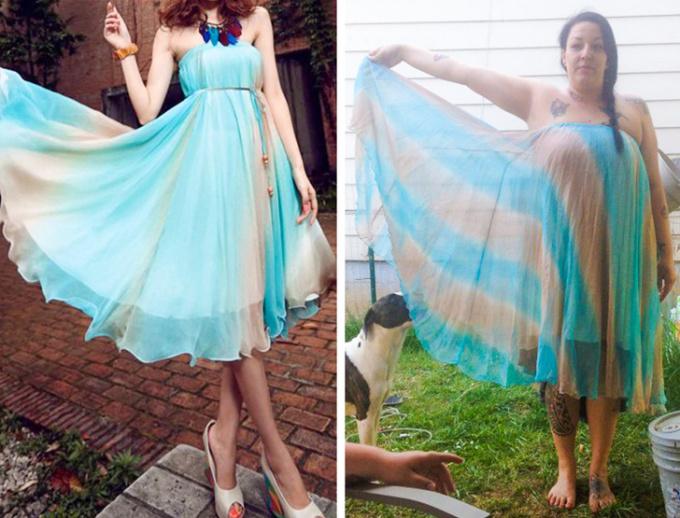 <p>Chiếc váy được mua qua mạng khiến người mặc chẳng khác nào đang quấntấm khăn choàng khi vừa tắm xong.</p>