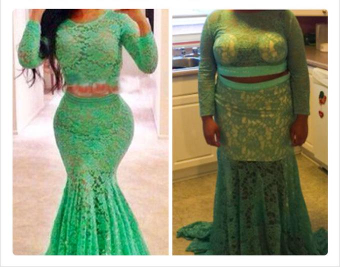 <p>Màu sắc giống, họa tiết hoa văn tương tự nhưng phải chăng do người mặc khác nhau nên chiếc váy bị biến đổi hình dáng?</p>
