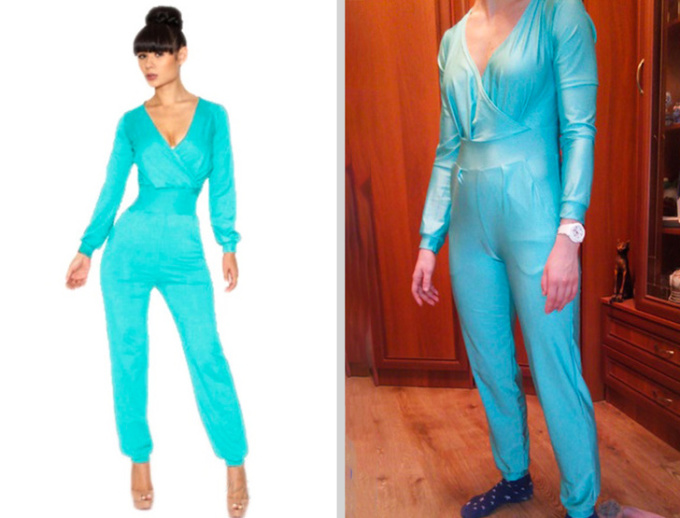 <p>Hình trên mạng trông thật phong cách, còn sản phẩm nhận về như bộ đồ ngủ bó sát.</p>