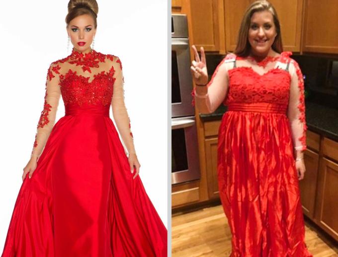"""<p class=""""Normal"""">Khoan nói đến thân hình khách hàng khácngười mẫu, chất liệu và kiểu dáng của chiếc váy này đã sai quá sai.</p>"""