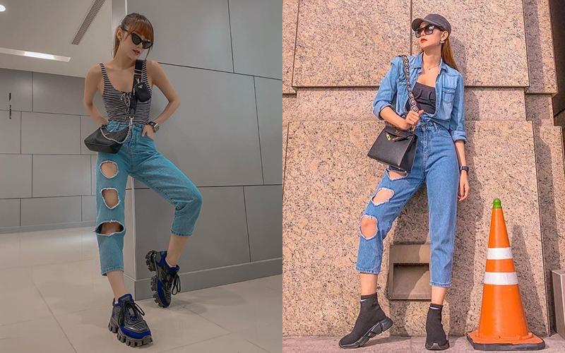Chiếc quần jeans thủng ba lỗ một bên ống được Minh Hằng lăng xê rất tích cực. Cô nhiều lần mặc item này ra phố để khoe vẻ cá tính, hầm hố.