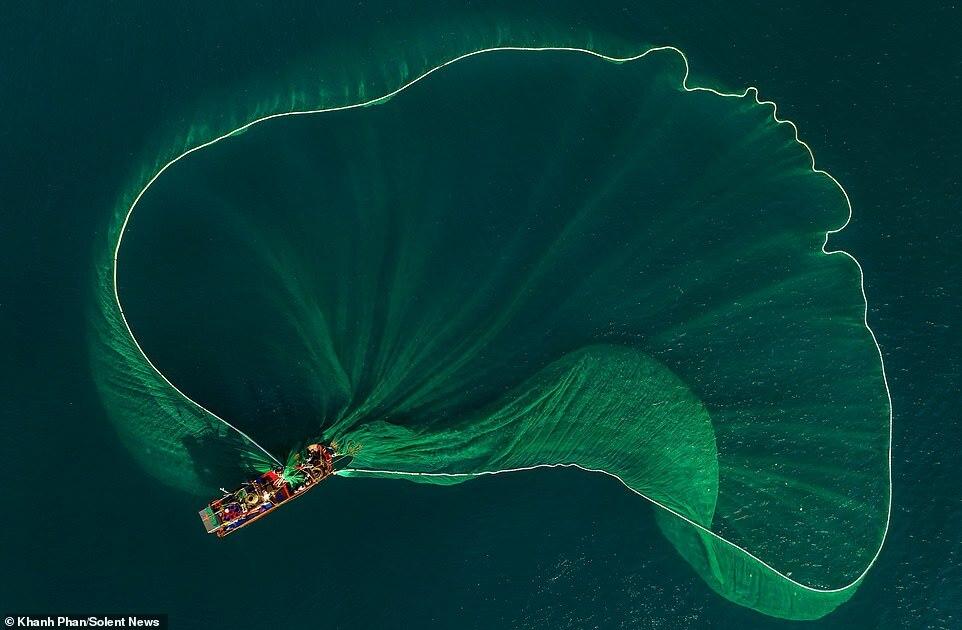 Những tấm lưới xanh khổng lồ tung bay giữa dòng nước xanh biếc.