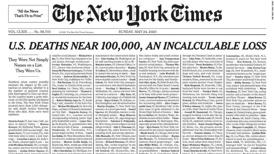 Tờ New York Times đăng tên tuổi 1.000 người chết. Ảnh: CNN.