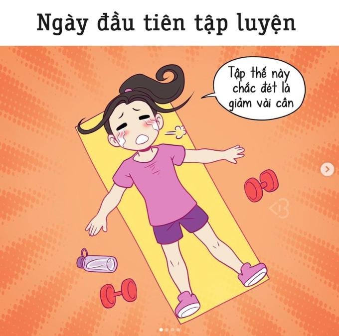 <p>Ngày đầu tập, bạn hừng hực khí thế, tập luyện cực khổ, nghĩ đến thân hình gầy với các múi bụng... Nhưng thực tế hoàn toàn ngược lại: Rã rời và kiệt sức.</p>