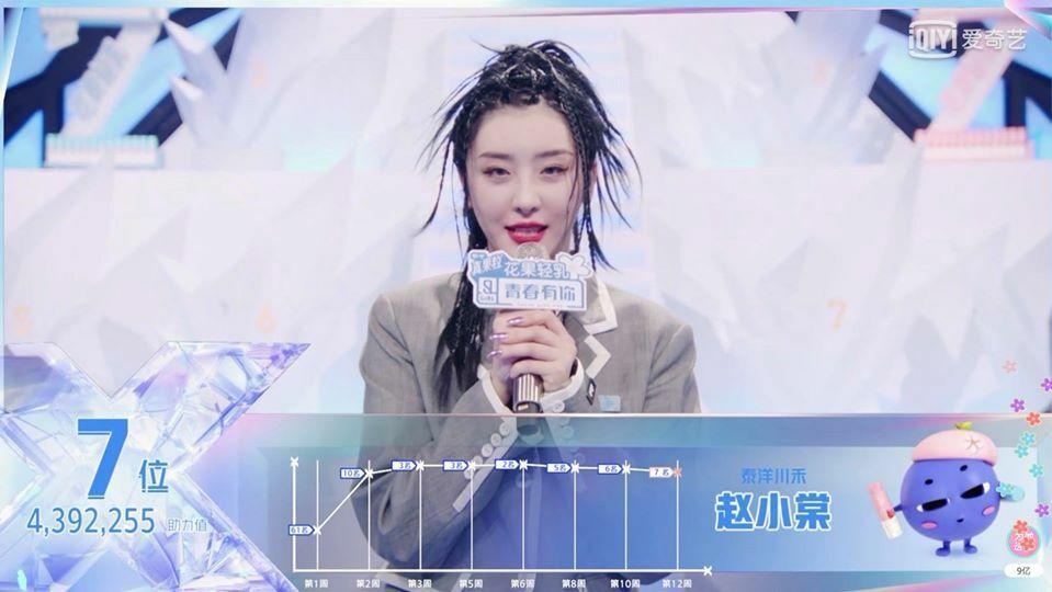 Hạng 7 là Triệu Tiểu Đường - nữ thực tập sinh sở hữu lượng fan đông đảo ở Việt Nam nhờ phong cách girlcrush mạnh mẽ.
