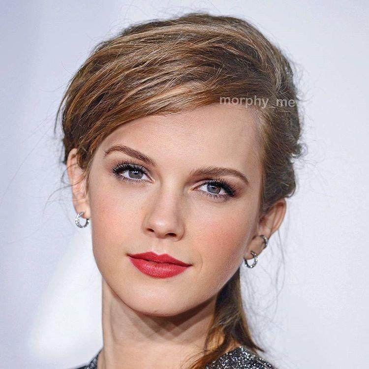 Emma Watson và Taylor Swift có điểm chung là đôi mắt hình hạnh nhân, gương mặt góc cạnh sắc sảo. Phiên bản hòa trộn của cả hai vì thế xứng đáng là một biểu tượng sắc đẹp.