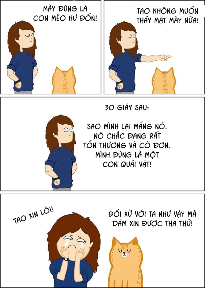 <p>Mèo là những diễn viên tuyệt vời. Chúng biết nên bày ra vẻ mặt như nào khi bị mắng, và nên làm gì để khiến bạn ân hận.</p>