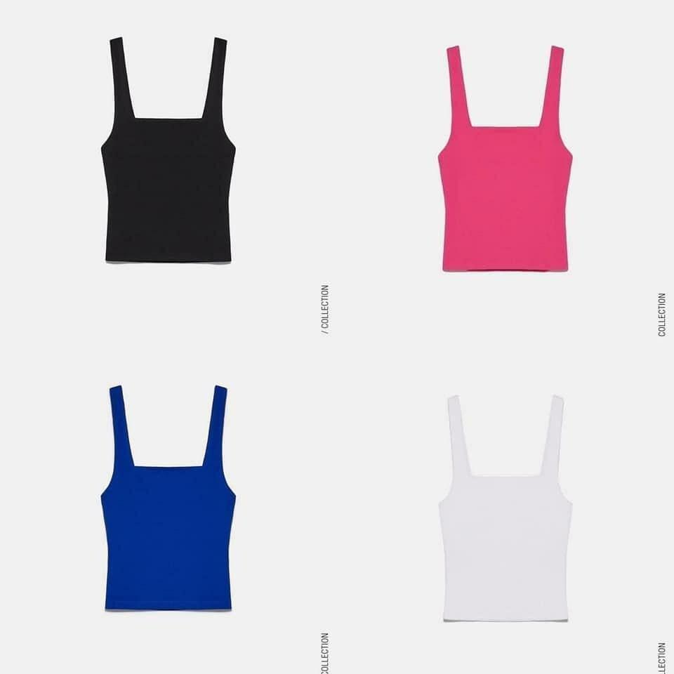 Chiếc áo ba lỗ cổ vuông, chất liệu thun gân ôm dáng sẽ cho bạn diện mạo vừa mát mẻ lại vừa phảng phất nét cổ điển. Mẫu tank top này của Zara được bán với giá 230k, có bốn phiên bản màu sắc.