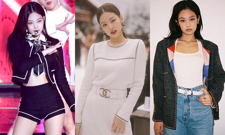 Là thánh sống Chanel, Jennie có cả kho đồ vải tweed đậm chất quý tộc của nhà mốt cao cấp này. Trang phục vải tweed với nhiều kiểu dáng như nguyên set, váy, áo khoác, chân váy... được idol sinh năm 1996 diện thường xuyên từ sân khấu đến các sự kiện và cả ở đời thường.