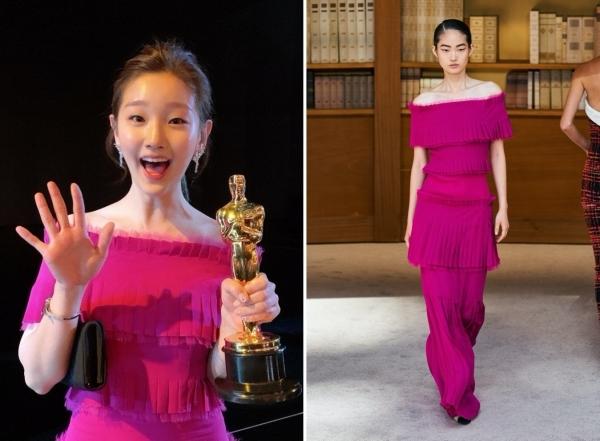 Park So Dam mặc đầm trong BST Haute Couture Thu 2019 của Chanel khi dự lễ trao giải Oscar. Chiếc đầm quây được xếp tầng tinh tế với màu hồng sang chảnh giúp Park So Dam lọt top đầu những ngôi sao mặc đẹp nhất sự kiện.