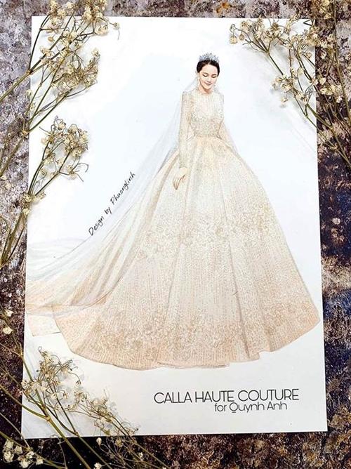 Nhà thiết kế Phương Linh cho biết Duy Mạnh đặt thiết kế váy cưới cho Quỳnh Anh chỉ trước ngày cưới 1 tháng và yêu cầu dòng cao cấp nhất.