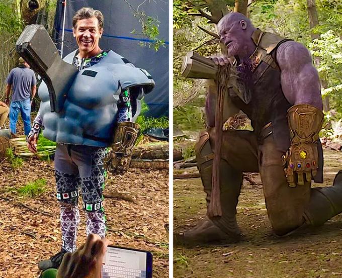 <p>Cảnh Thanos bị Thor đâm rìuStormbreaker vào ngực ở cuối <em>Avengers: Infinity War</em>.</p>