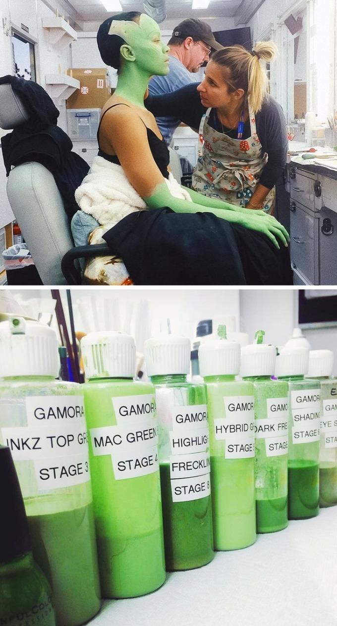 <p>Làn da xanh của Gamora trong <em>Guardians of the Galaxy</em> cần đến cả chục sắc độ.</p>