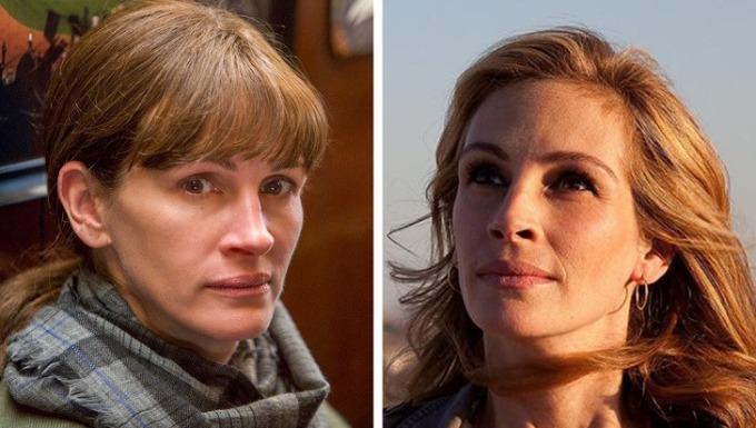 <p><strong>Julia Roberts</strong></p>  <p>Julia không chỉ được biết đến là ngôi sao phim rom-com thập niên 90. Sau khi nhận giải Oscar cho phim <em>Erin Brockovich</em>, không còn ai nghi ngờ tài năng của cô.</p>  <p>Trong<em>Secret in Their Eyes</em> (ảnh trái), cô đóng người phụ nữ điều tra về cái chết thảm của con gái.</p>