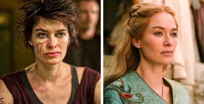 <p><strong>Lena Heakey</strong></p>  <p>Nữ diễn viên Anh quốc có nhiều vai diễn tốt trong sự nghiệp nhưng phải đến loạt phim <em>Game of Thrones</em>, tên tuổi cô mới bật lên.</p>  <p>Trong phim <em>Dredd</em>, Lena hóa thân thành gái giang hồ mặt sẹo, hàm răng xấu xí và đôi môi nứt nẻ.</p>
