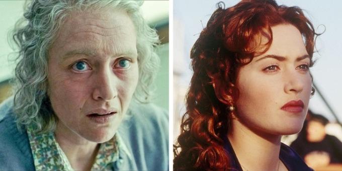 """<p><strong>Kate Winslet</strong></p>  <p>""""Nàng Rose"""" của <em>Titanic </em>thường vào vai những nhân vậtxinh đẹp. Nhưng trong phim <em>The Reader</em>, cô hóa thân thành người phụ nữ Đức mù chữ bị buộc chịu trách nhiệm trướccái chết của hàng trăm người. Nhờ chuyên gia trang điểm, Kate trông già nua và xấu xí hơn nhiềuso với diện mạo thật.</p>"""