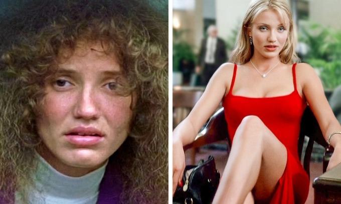 <p><strong>Cameron Diaz</strong></p>  <p>Năm 1999 khi đóng<em>Being John Malkovich</em>, Cameron chấp nhận biến mình thành kiểu phụ nữ thiếu hấp dẫn với khuôn mặt nhợt nhạt và mái tóc nâu bông xù. Đổi lại, vai diễn đã giúp cô nhận đề cử tại giải BAFTA và Quả Cầu Vàng.</p>