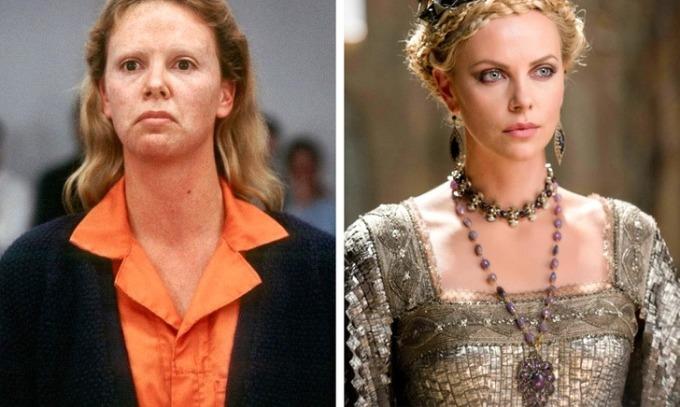 <p><strong>Charlize Theron</strong></p>  <p>Trong <em>Monster</em>, nữ diễn viên vào vai kẻ giết người hàng loạt. Để phù hợp tạo hình, cô phải tăng 10 kg và trang điểm kiểunổi loạn. Vai diễn giúp Theron được vinh danh tạiQuả Cầu Vàng, Oscar và SAG Award.</p>