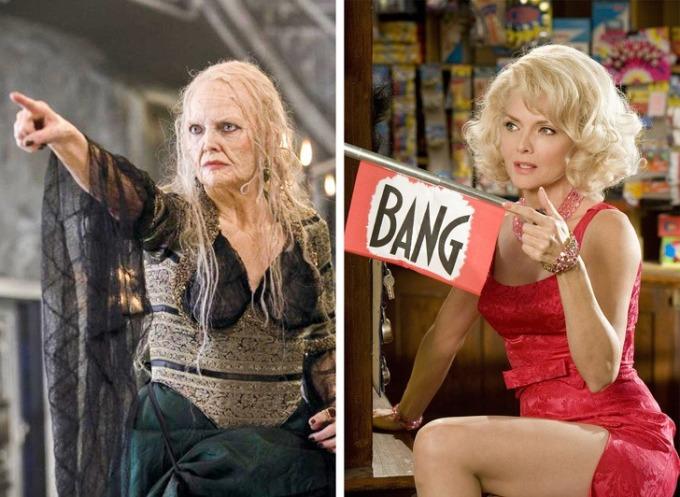 """<p class=""""Normal""""><strong><span>Michelle Pfeiffer</span></strong></p>  <p class=""""Normal""""><span>Mỹ nhân Hollywood hóa thân thành mụ phù thủy già xấu xítrong <em>Stardust</em>. Khi nhân vật của cô hóa trẻ lại, khán giả hoàn toàn bất ngờ bởi cô vẫnquyến rũdù ở tuổi ngũ tuần.</span></p>"""
