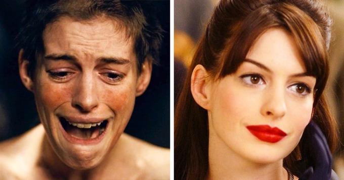 """<p class=""""Normal""""><strong>Anne Hathaway</strong></p>  <p class=""""Normal"""">Nhân vật của Anne trong<em>Les Misérables </em>phải bán tóc, bán răng và trở thành gái điếm để có tiền nuôi con. Để vào vai người phụ nữ cùng cực này, Anne phải giảm 10 kg trong thời gian ngắn. Phân đoạn cắt tóc trước máy quay hoàn toàn là tóc thật.</p>"""