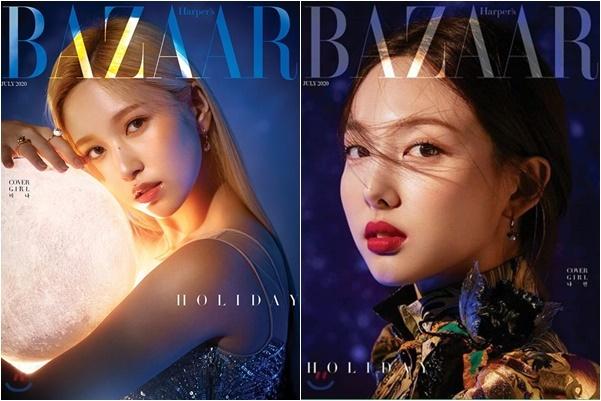 Mina và Na Yeon chụp ảnh bìa tap chí.