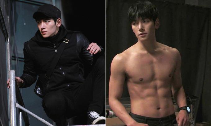 """<p class=""""Normal""""><em>Healer </em>là bộ phim hành động đầu tiên Ji Chang Wook tham gia. Nam diễn viên chăm chỉ luyện tập để tự mình thực hiện các cảnh quay leo trèo nguy hiểm trong phim. Dù không có nhiều màn khoe body, khán giả của <em>Healer </em>vẫn thấy được cơ thể săn chắc, gọn gàng của Ji Chang Wook.</p>"""