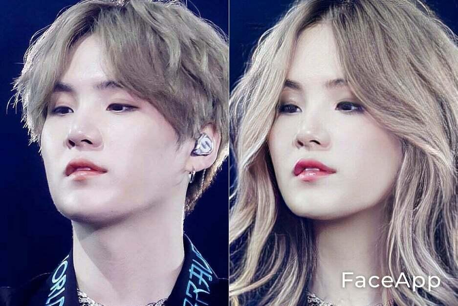 Suga lên sân khấu vô cùng nam tính nhưng nhờ app chuyển mặt, fan nhận ra nam idol sẽ vô cùng xinh đẹp nếu là con gái.
