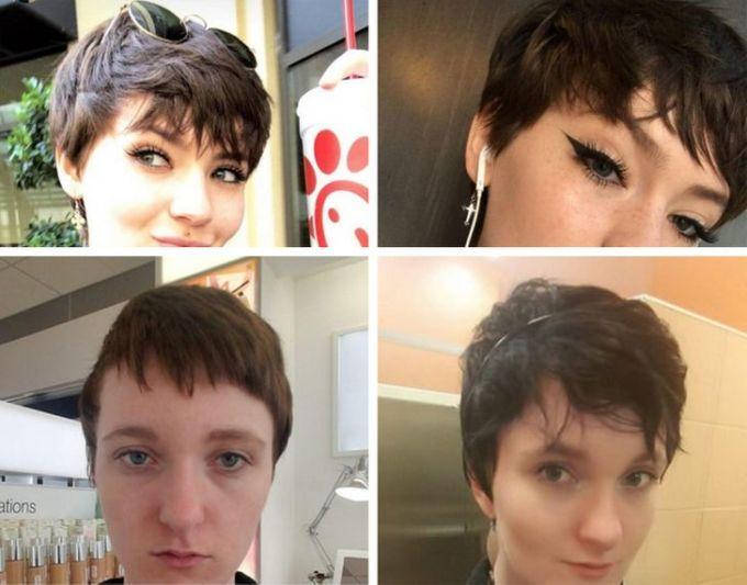 <p>Hai bức hình trên tôi mang hình mẫu đến cửa hànglàm tóc và muốn họ thực hiện. Còn đâylà kiểu tóchọ đã tạo ra.</p>