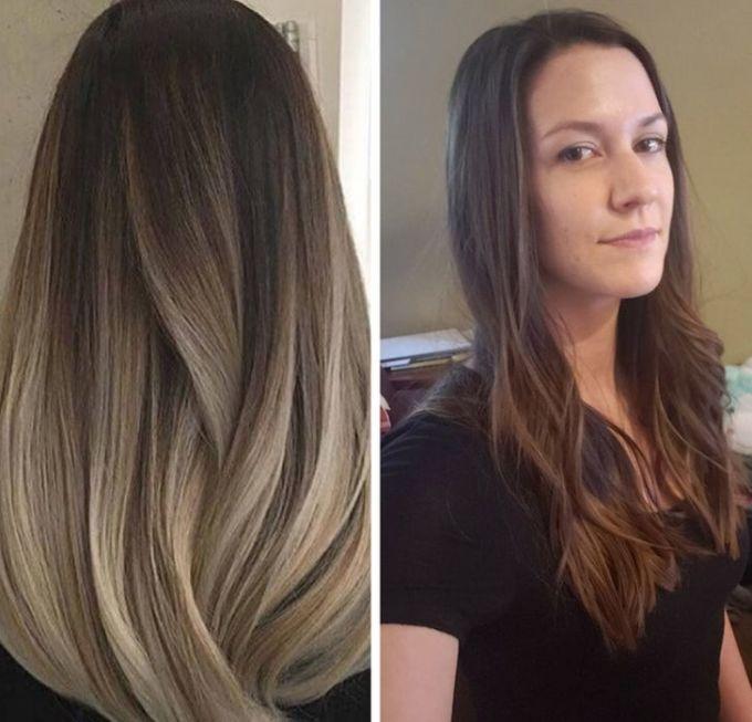 """<p>Cô ấy muốn muộn một màu tóc từ đậm đến nhạt như bức hình bên trái, và hình bên phải là kết quả. """"Dù nhìn ở góc nào tôi cũng không thể thấy điểm giống nhau ở hai mái tóc"""", người này nói.</p>"""