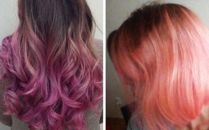 <p>Hình mẫu là tóc tím, còn thực tế chẳng khác nào mái tóc đỏ bị phai màu.</p>