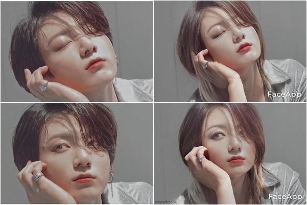 Jung Kook có nhiều nét giống Han Hye Joo khi để tóc dài.