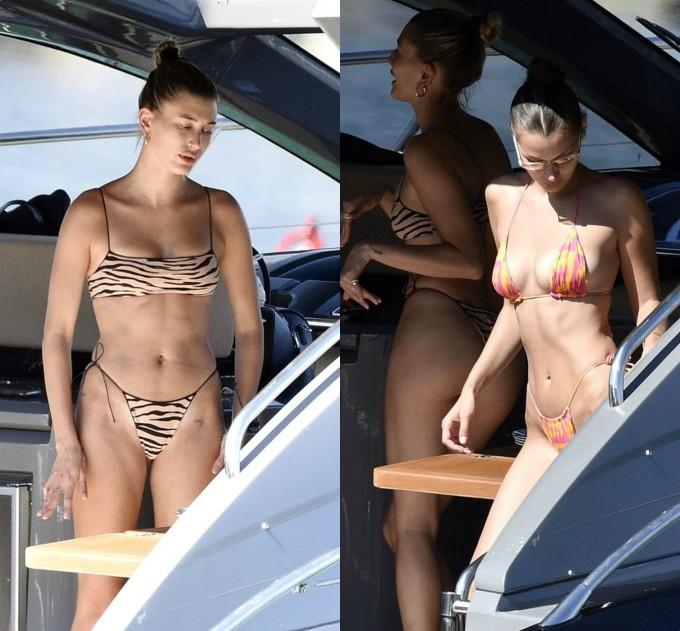 <p>Cặp bạn thân 23 tuổi cùng diện bikini nhỏ xíu khi tắm nắng trên du thuyền sang trọng. Bella (phải) khoe body không mỡ thừa và cơ bụng săn chắc trong bộ đồ hai mảnh.</p>