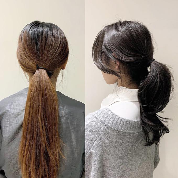 """<p class=""""Normal"""">Với mái tóc thẳng đơ buộc gọn phía sau đơn giản, bạn sẽ chẳng khác mấy """"bà thím"""". Thay vào đó, hãy thử uốn xoăn nhẹ phần đuôi đóc, buộc lỏng,tạo độ phồng đằng sauvà một chút mái """"buông lơi"""" trước mặt.</p>"""