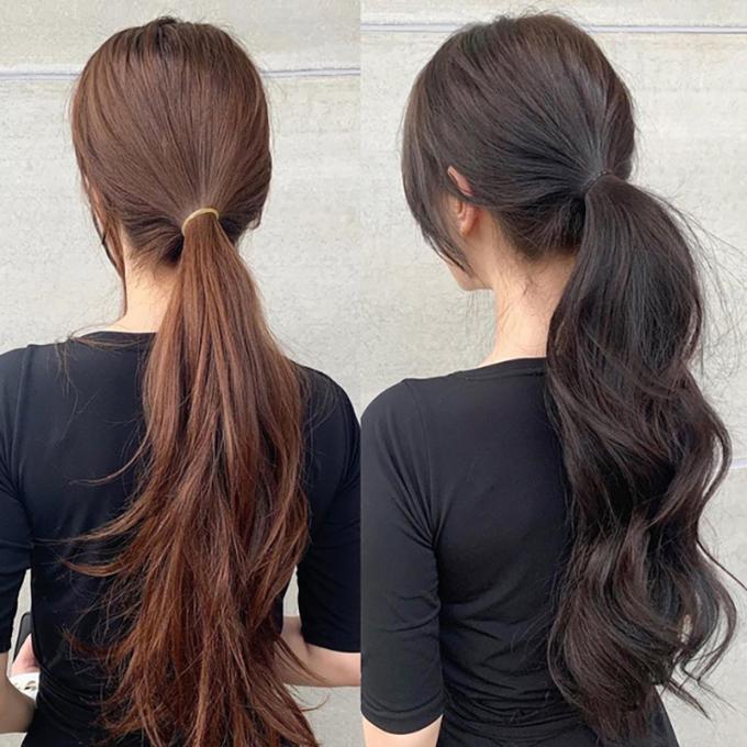 <p>Vẫn áp dụng quy tắc buộc tóc ngang phần tai, tạo độ phồng cho tócthay vì buộc chặt, đồng thờitạo độ xoăn cho phần đôi tóc và chăm chút cho phần mái để tạo sự hài hoà.</p>