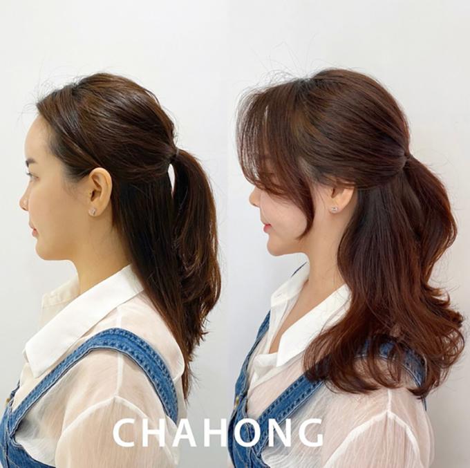 <p>Nếu đã chán với buộc tóc đuôi ngựa, bạn có thể buộc nửa, nhưng vẫn cần làm xoăn phần đuôi, làm phồng phần tóc buộc và phần mái phía trước.</p>