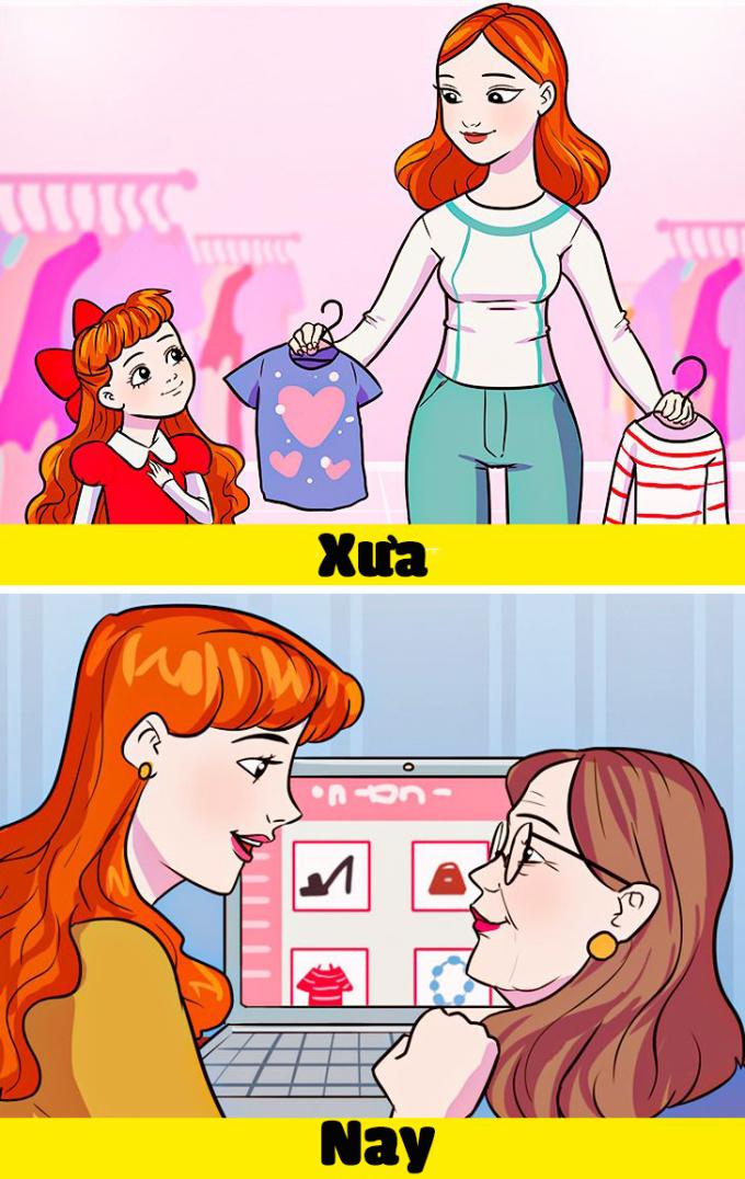 <p>Thay vì đòi mẹ mua quần áo mới như hồi bé, giờ bạn lại là người đưa mẹ đi mua sắm hoặc hướng dẫn mẹ cách mua hàng trực tuyến.</p>