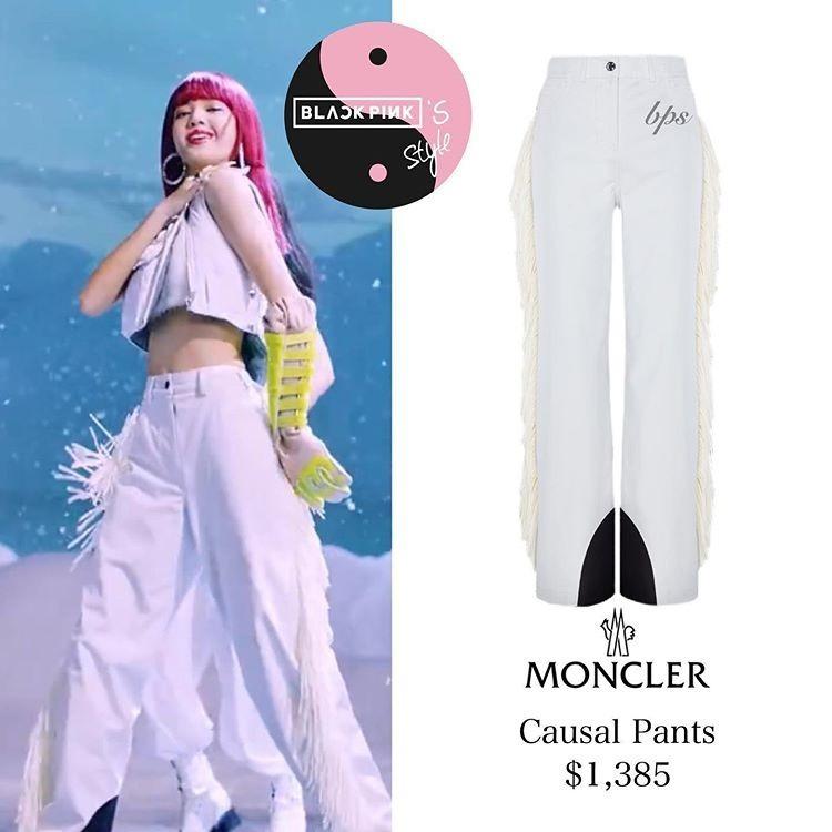 Phong cách bụi bặm của em út Black Pink vẫn được giữ nguyên với các kiểu quần jogger khỏe khoắn, trong đó có quần Moncler hơn 32 triệu đồng.