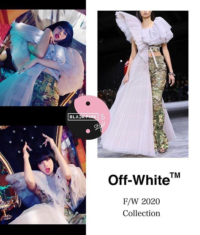 Lisa chinh phục thiết kế phá cách của Off-White, một bên là đầm dạ hội lộng lẫy, bên lại quần rằn ri hầm hố.