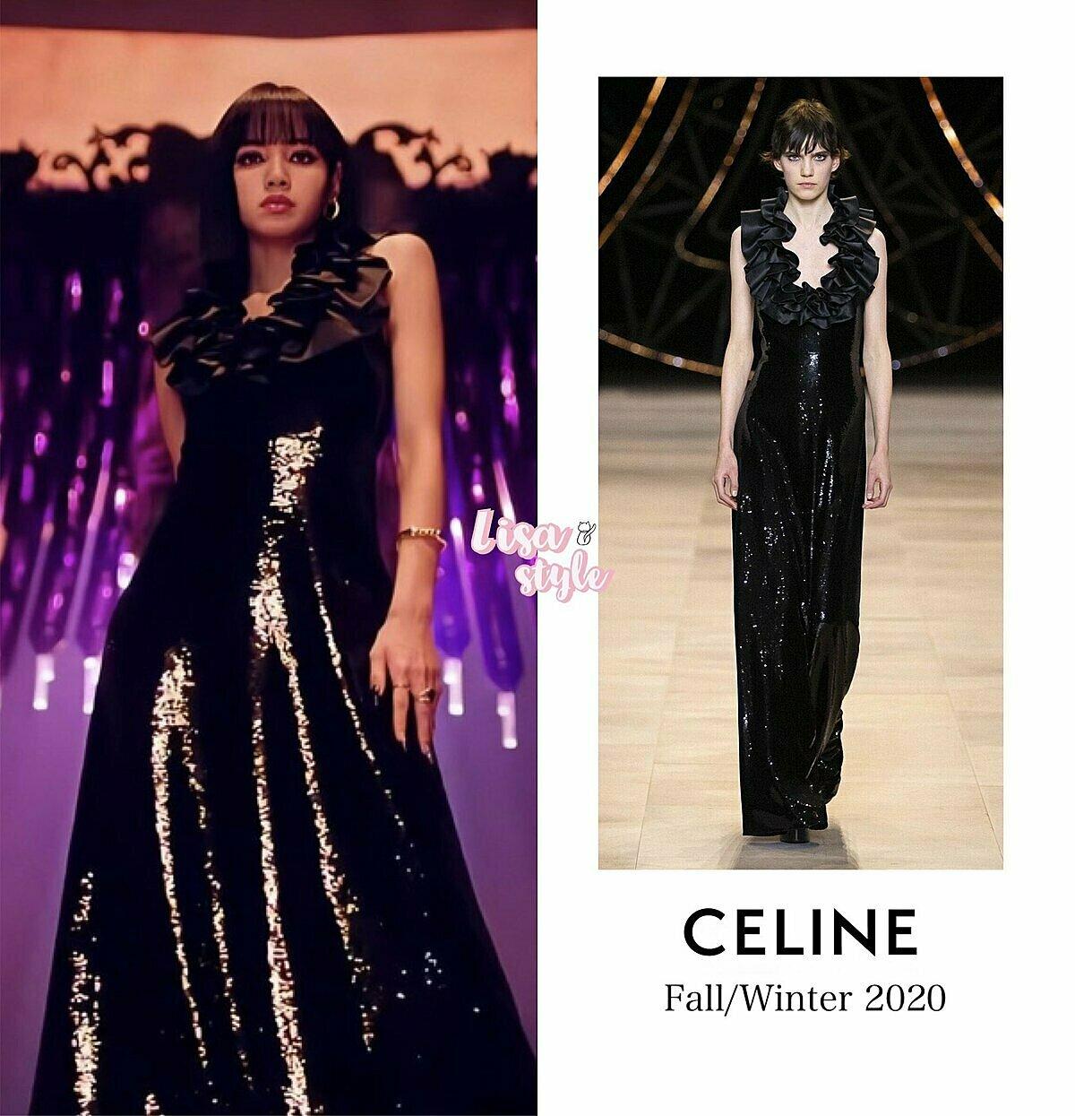 Cô nàng không quên lăng xê trang phục của thương hiệu Celine do cô đang làm đại sứ.