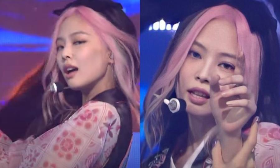 Trong sân khấu How you like that ngày 27/6, Jennie làm mới hình ảnh bằng mái tóc giả (hoặc phun thuốc nhuộm) màu hồng.