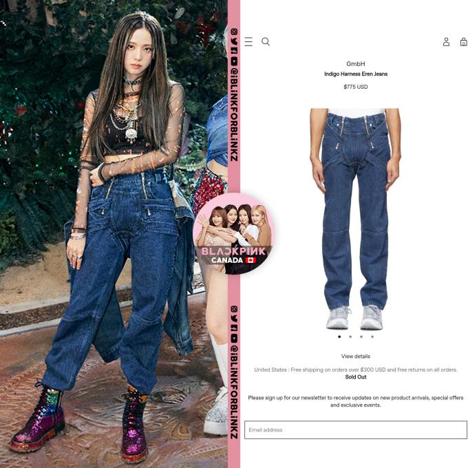 <p>Kiểu quần jeans độc đáo giá 775 USD mà Ji Soo mặc cũng sold out ở thị trường Mỹ.</p>
