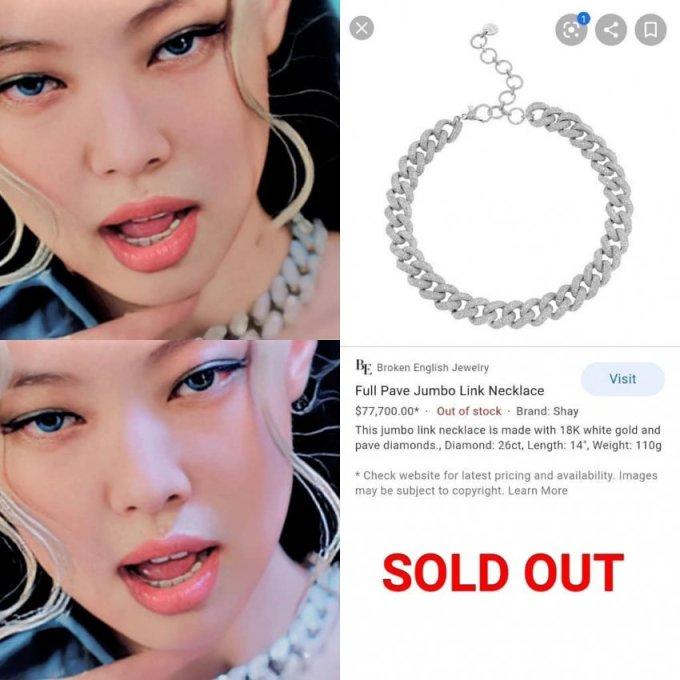 """<p>Netizen bị sốc khi biết vòng cổ giá 77.700 USD mà Jennie đeo đã bán """"hết veo"""" trên trang mua sắm trực tuyến.</p>"""