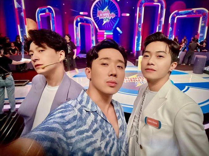 Bộ ba Ngô Kiến Huy - Trấn Thành - Cris Phan đọ mặt ngầu khi cùng đi quay gameshow.