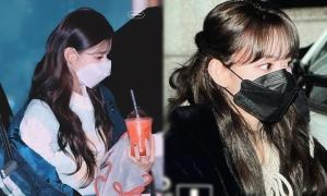 Những hình ảnh đi làm về của Sakura và Mi Yeon khiến fan xuýt xoa vì đeo khẩu trang nhưng vẫn rất đẹp.